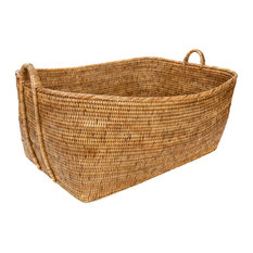 Artifacts Rattan™ Storage Basket With Handles, Honey Brown, Small