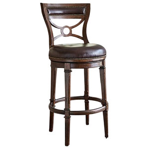 Tatum Swivel Barstool Dark Leather Traditional Bar