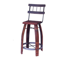 Wood Stave Stool With Back Caramel 24-inch