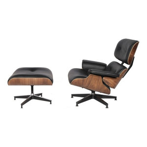 Aniline Leather Lounge Chair and Ottoman, Black, Base: Walnut