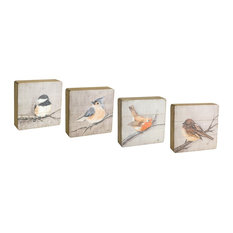 "Bird Plaque, Set of 4, 8""H Wood"