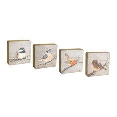 "Bird Plaque, Set of 4, 8""H Wood"