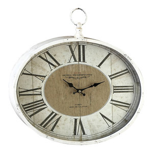 Sonia Oval Wall Clock Farmhouse Wall Clocks By Aspire Home Accents Inc
