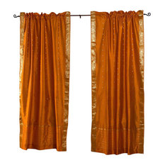 Indian Selections   Mustard Yellow Rod Pocket Sheer Sari Curtain, Drape And  Panel, 43x108