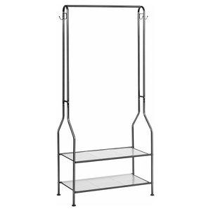 Coat Rack, 2 Open Shelves, Top Rod 4-Hook, Contemporary Design, Black
