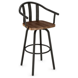 Sloped Arm Swivel Stool With Wood Seat, Bar Seat