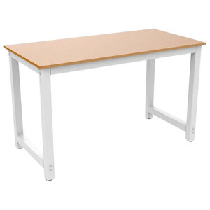 Modern Square Desk Table, MDF With Steel Metal Frame, Simple Design, Brown
