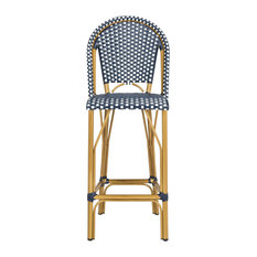 Safavieh - Ford Barstool/Stackable, Navy, White - Outdoor Bar Stools and Counter Stools