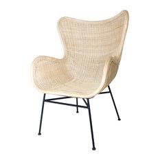 Genial New Pacific Direct Inc.   Nasiba Rattan Arm Chair, Black Legs, Natural