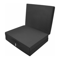 Futon Mattress in Polyester, Simple Modern Design, Foldable, Black