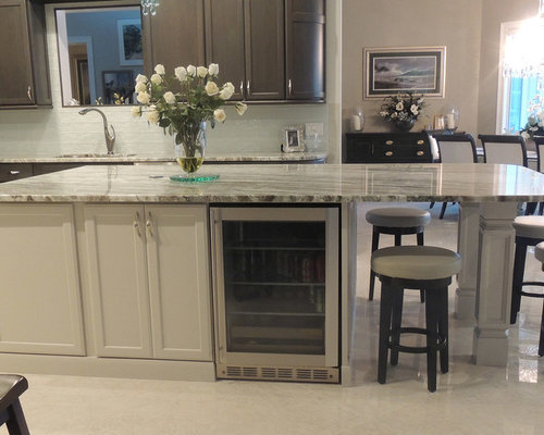 GRAY CABINETS WITH AN OFF WHITE KITCHEN ISLAND - Kitchen Cabinetry