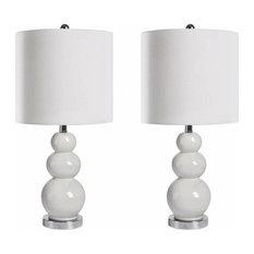 Abbyson Living Camden Gourd Table Lamps, Set of 2, White