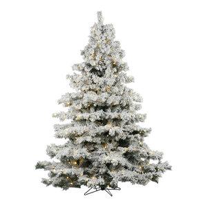 Flocked Alaskan Pine Tree, 9', Warm White Led Lights