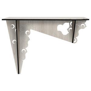 Moon Laser-Cut Wood Veneer Console Table, Grey