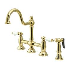 Kingston Brass Restoration Bridge Kitchen Faucet, Polished Brass
