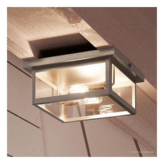 Luxury Farmhouse Outdoor Ceiling Light, Darwin Series, Stainless Steel