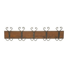 Antique-Style Wood Metal Wall Hook, 36 x8