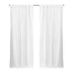 Textured Matelasse Hidden Tab Top Curtain Panel Pair, White, 50x96