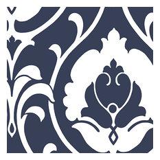 Modern Damask Wallpaper, Navy Blue and White, Sample