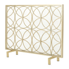 GDFStudio - Veritas Single Panel Black Iron Fireplace Screen, Gold - Fireplace Screens