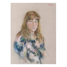 """Thomas Strickland """"Portrait of a Girl With Bangs"""" Pastel Drawing"""