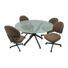Glass Dinette Set With Swivel Caster Chairs Sanora Brown Crackle Glass