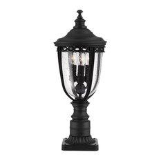 English Bridle 3-Light Pedestal Path Light, Black, Small