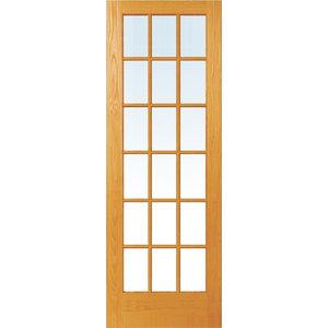 """18-Lite True Divided Unfinished Pine Interior Door Slab, 36""""x96"""""""
