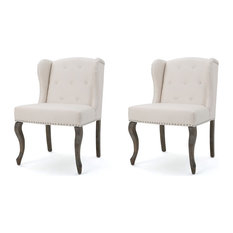 GDFStudio   Asheville Modern Fabric Wingback Chairs, Beige, Set Of 2    Armchairs And