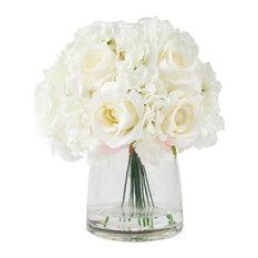 Pure Garden Hydrangea and Rose Floral Arrangement With Vase, Cream