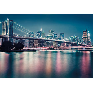 Brooklyn Bridge Neon Glow Skyline Photo Wall Mural, 368x254 cm