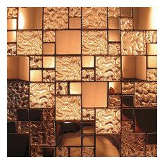Copper Metal Pattern Textured Glass Mosaic Tile Backsplash, Sample