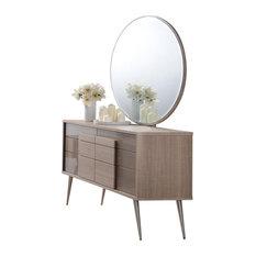 Brazil Midcentury Modern Taupe Bronze Dresser And Mirror