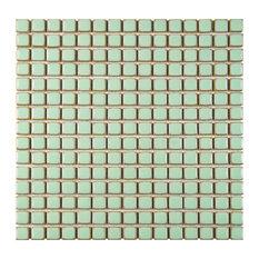 """12.38""""x12.38"""" Frontier Porcelain Mosaic Floor/Wall Tile, Light Green"""
