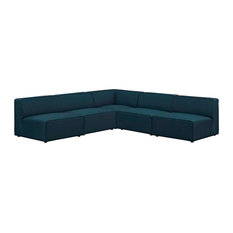 Blue Mingle 5 Piece Upholstered Fabric Armless Sectional Sofa Set