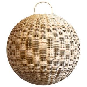 Raw Rattan Globe Lantern Small