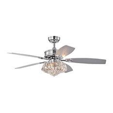 "48"" Indoor Chrome 5 Reversible Blade Ceiling Fan Crystal Drum Light Kit Glam"