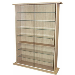 Traditional Display Cabinet, Oak Finish Particle Board With Sliding Glass Door