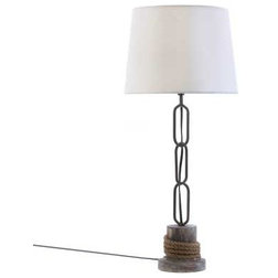Good Beach Style Table Lamps Nautical rope trim table lamp