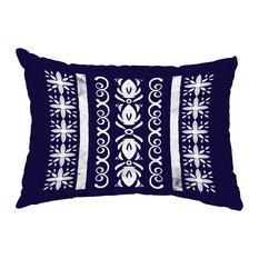 "Cuban Tile 2 14""x20"" Abstract Decorative Outdoor Pillow, Navy Blue"