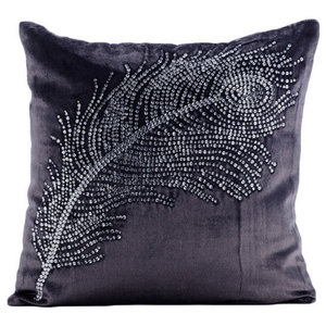 Gray Velvet 35x35 Crystals Peacock Feather Cushions Cover, Peacock Bliss