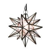 "Moravian Star Light, Seedy Glass With Bronze Trim, 19"" Diameter, With Mount Kit"