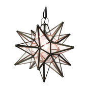 "Moravian Star Light, Seedy Glass With Bronze Trim, 15"" Diameter, With Mount Kit"