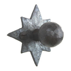 Rustic Hammered Star Wrought Iron Cabinet Knob  HK5, Natural Wax