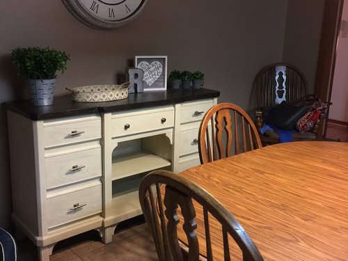 what is a buffet table if may mention brand names the buffet is mystic cay collection all chairs in this collection have upholstery and that out of question with what color dining table do need white brown top