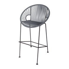 Puerto Counter Height Stool With Black Frame Gray Weave Black Frame