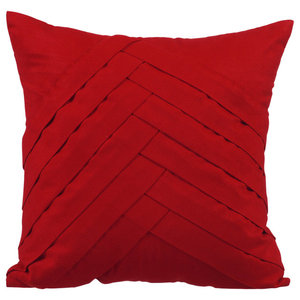 Textured Pintucks 40x40 Suede Red Cushion Covers, Red No Limits No Lines