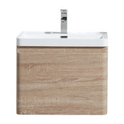 "Happy Wall Mounted Vanity With Reinforced Acrylic Sink, White Oak, 24"""