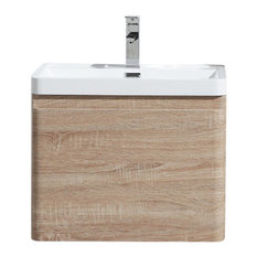 Happy Wall Mounted Vanity With Reinforced Acrylic Sink White Oak 24-inch