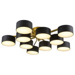 Design Living - Gold Frame Flushmount Light Fixture, Black Shades, White Shade Cover - A gold frame ceiling fixture that can be hung flushed or by adjustable hanging rods. This light has black shades with frosted white diffusers